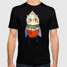 Owl Chick Mens Fitted Tee LARGE Black