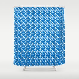 Lattice Pattern (Blue) Shower Curtain