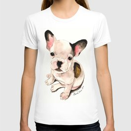 French Bulldog Pug Dog Watercolor Pet Portrait T-shirt