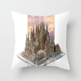 Barcelona Sagrada Familia - axonometric Throw Pillow