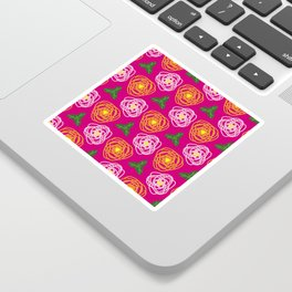 Bright pink floral Sticker