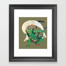 polygonal representation of Fūjin (japanese god of wind) Framed Art Print