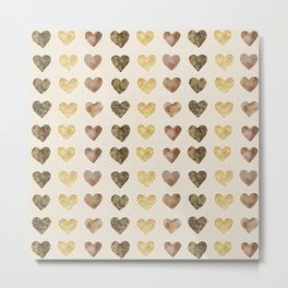 Gold and Chocolate Brown Hearts Metal Print