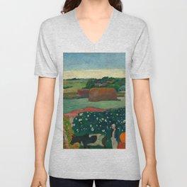 """Paul Gauguin """"Les meules ou Le Champ de pommes de terre or Haystacks in Brettany"""" Unisex V-Neck"""