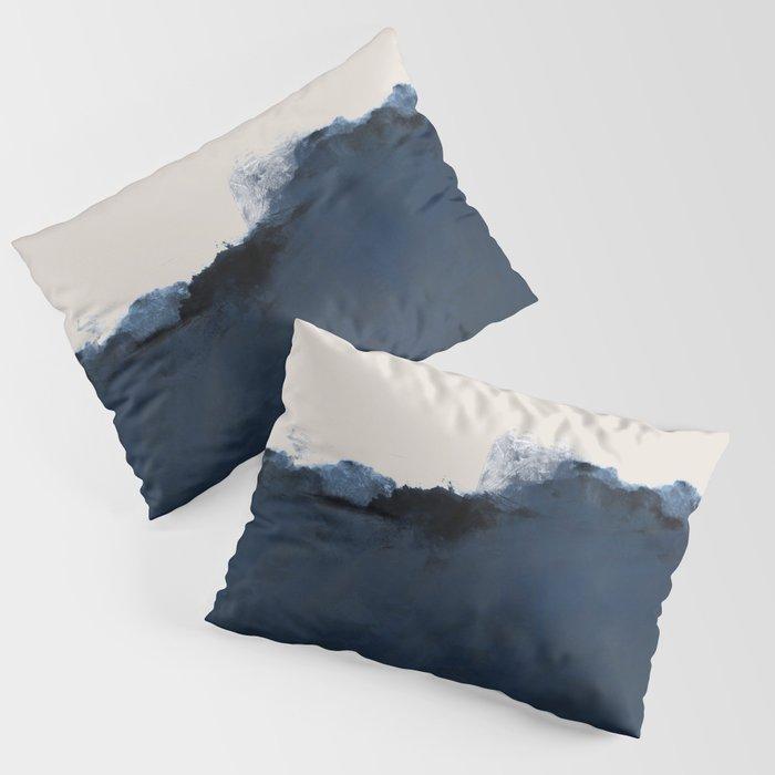Abstract, blue, beige, indigo Kissenbezug