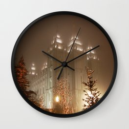 Salt Lake Temple - Christmas Lights Wall Clock