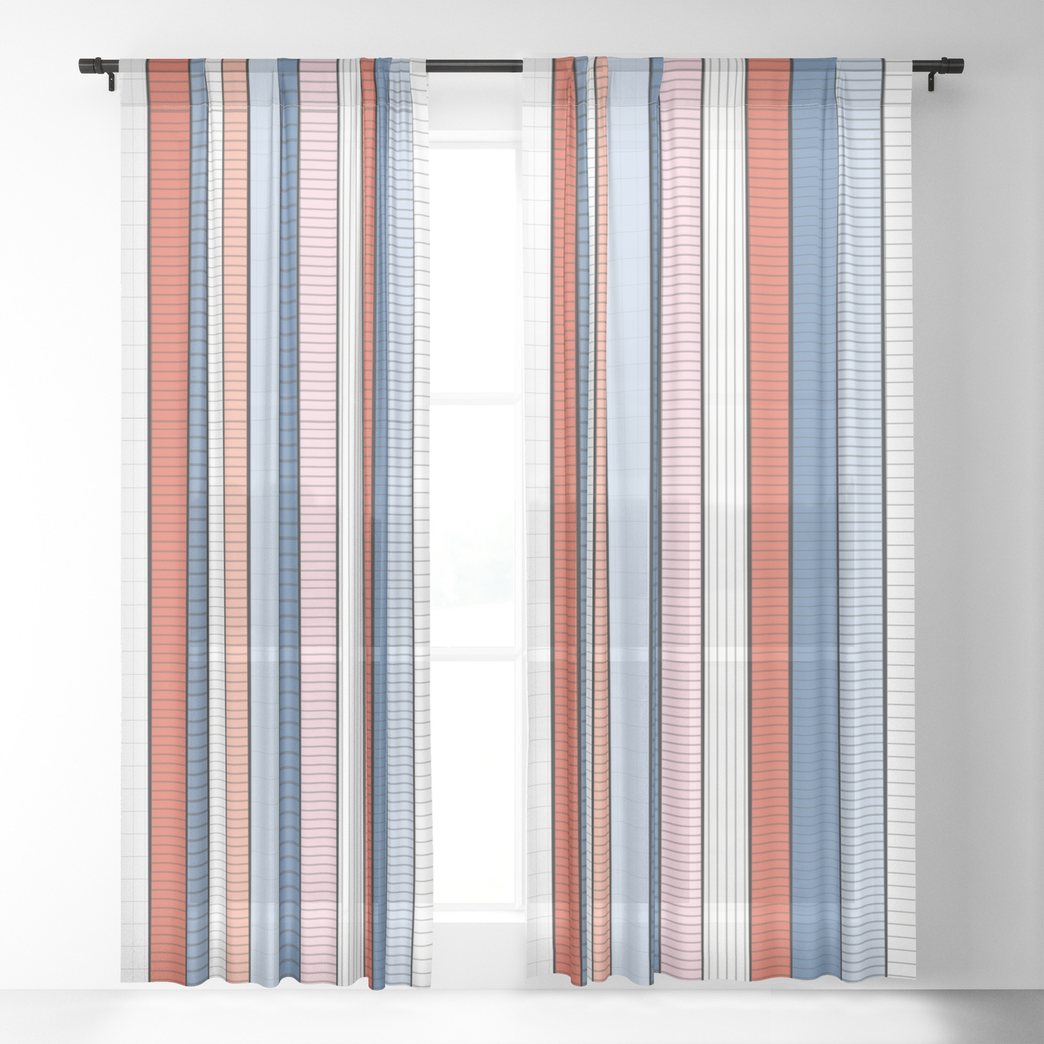 Striped Pattern Colorful Stripe Design Red Blue White Orange Sheer Curtain By Ohaniki