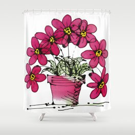 Seven Flowers (Pink): gorgeously simple original art, vibrant flowers in a pot Shower Curtain