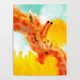 Sweet Painting of A Mother Giraffe and Her Baby Cuddling Under the Sun Nursery Room Decor Poster
