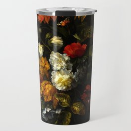 """Ernst Stuven """"A sunflower, carnations, roses, tulips and other flowers in a glass vase on a marble"""" Travel Mug"""