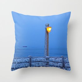 Frosted Light and Ship Throw Pillow