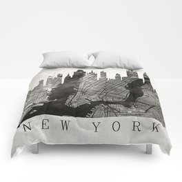 New York Skyline + Map #3 Comforters