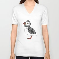 puffin V-neck T-shirts featuring Atlantic Puffin I by 。i。f。studio