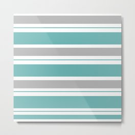 Gray And Blue Striped Metal Print