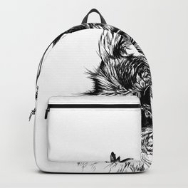 Beautiful owl with bluetit Backpack