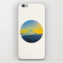 Mid Century Modern Round Circle Photo Yellow Blue Mount Fuji Sunset Watercolor Effect Landscape iPhone Skin