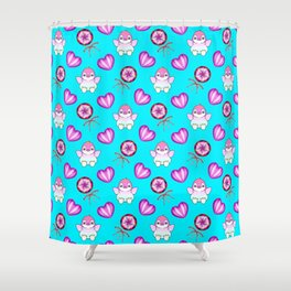Lovely cute happy baby penguins with flapping wings, retro vintage lollipops and sweet candy hearts Shower Curtain