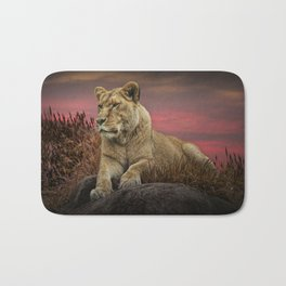 African Female Lion in the Grass at Sunset Bath Mat
