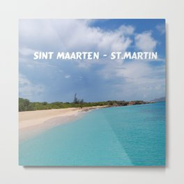 Tropical sandy beach of Sint Maarten - St. Martin Metal Print