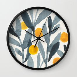 Seamless Watercolor Pattern Mystical Pattern Watercolor Floral Flowers Grey Blue Leaves Orange Fruit Wall Clock