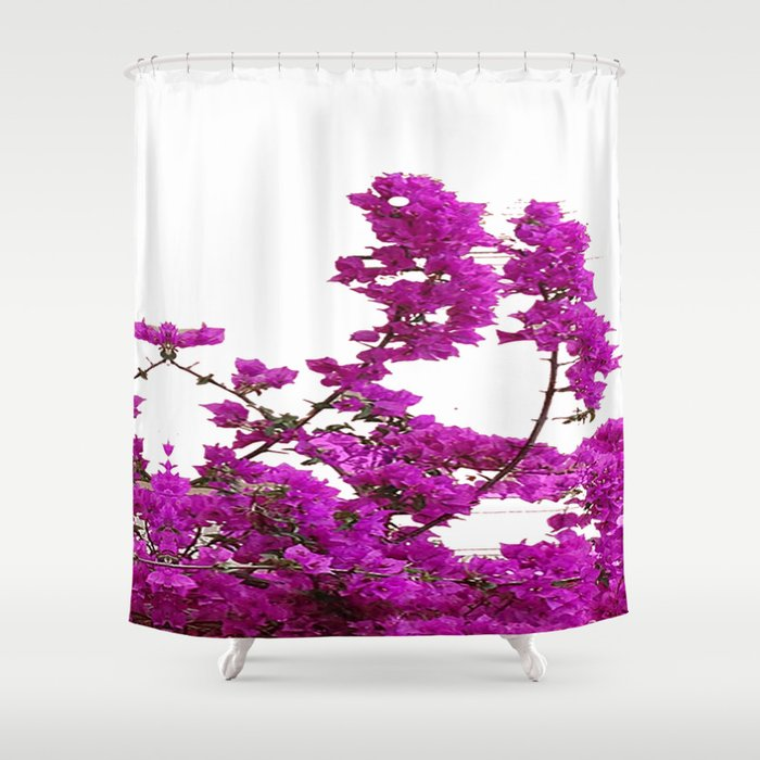 LILAC PURPLE BOUGAINVILLEA VINES CLIMBING ON WHITE Shower Curtain