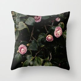 Pink Camellias Throw Pillow