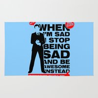 seinfeld Area & Throw Rugs featuring When I am sad, I stop being sad and be awesome instead NEW by BomDesignz