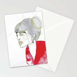 Iris - red sweater, grey hair Stationery Cards