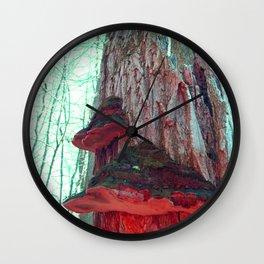 Tree Mushrooms Afterglow Wall Clock