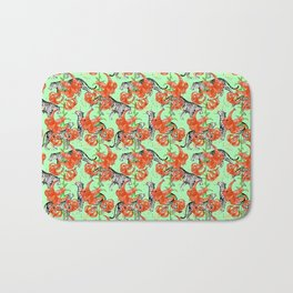 Tigers and Tiger Lilies (Green Background) Bath Mat