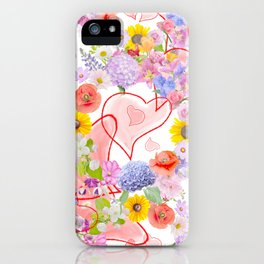 seamless  pattern with flowers and hearts iPhone Case