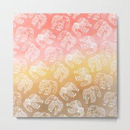 Paisley floral lace elephants illustration pink brown boho watercolor Metal Print