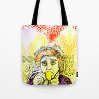 willy wonka Tote Bags featuring Willy Wonka Drinks His Tea - Gene Wilder  by Sewzinski