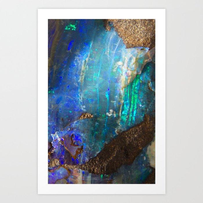 Turquoise geode opal iridescent holographic druse crystal quartz agate gem gemstone mineral stone Kunstdrucke