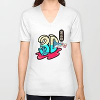 3d V-neck T-shirts featuring ' 3D ' by Philip Morgan