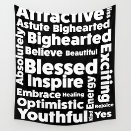 Positive Text board. Wall Tapestry