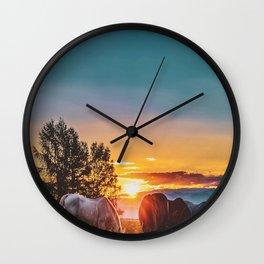 Horse Sunrise (Color) Wall Clock