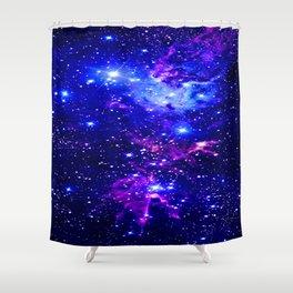 Fox Fur Nebula Galaxy blue purple Shower Curtain