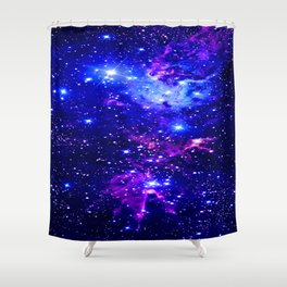 Fox Fur Nebula Galaxy blue purple Shower Curtain