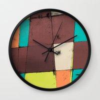 hot air balloon Wall Clocks featuring Hot Air Balloon II by Monty