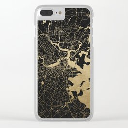 Boston Gold and Black Invert Clear iPhone Case