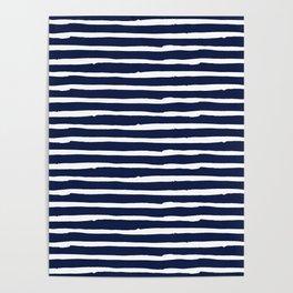 Navy Blue Stripes on White II Poster