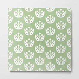 Mid Century Modern Abstract Flower Pattern 821 Sage Green Metal Print