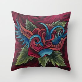 Sparrow Rose Throw Pillow
