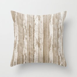 Rustic brown white barn grunge wood texture Throw Pillow