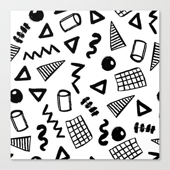 Black and white shapes minimal linocut pattern graphic scandi design Canvas Print