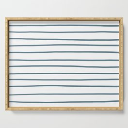 Inspired by Behr Blueprint Blue S470-5 Hand Drawn Horizontal Lines on White Serving Tray