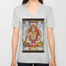 Hindu Hanuman Monkey God 5 Unisex V-Neck