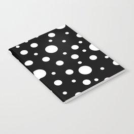 White on Black Polka Dot Pattern Notebook