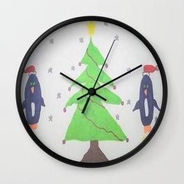 Penguins Around the Christmas Tree Wall Clock